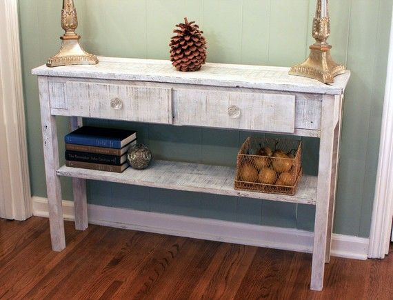 white sofa cover with wooden table | Whitewashed Sofa Table. White Hallway Table. Whitewash ...