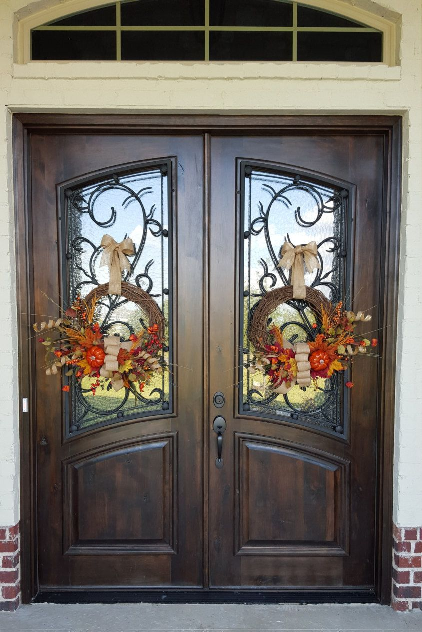 Entrance Doors Double Door Fall Wreathes With Pumpkin And Burlap Bow Autumn