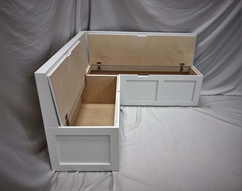 Corner Bench Set w/ Backrest / Shaker Banquette Bench / Top-opening Storage Bench / Breakfast Nook / Painted Wood