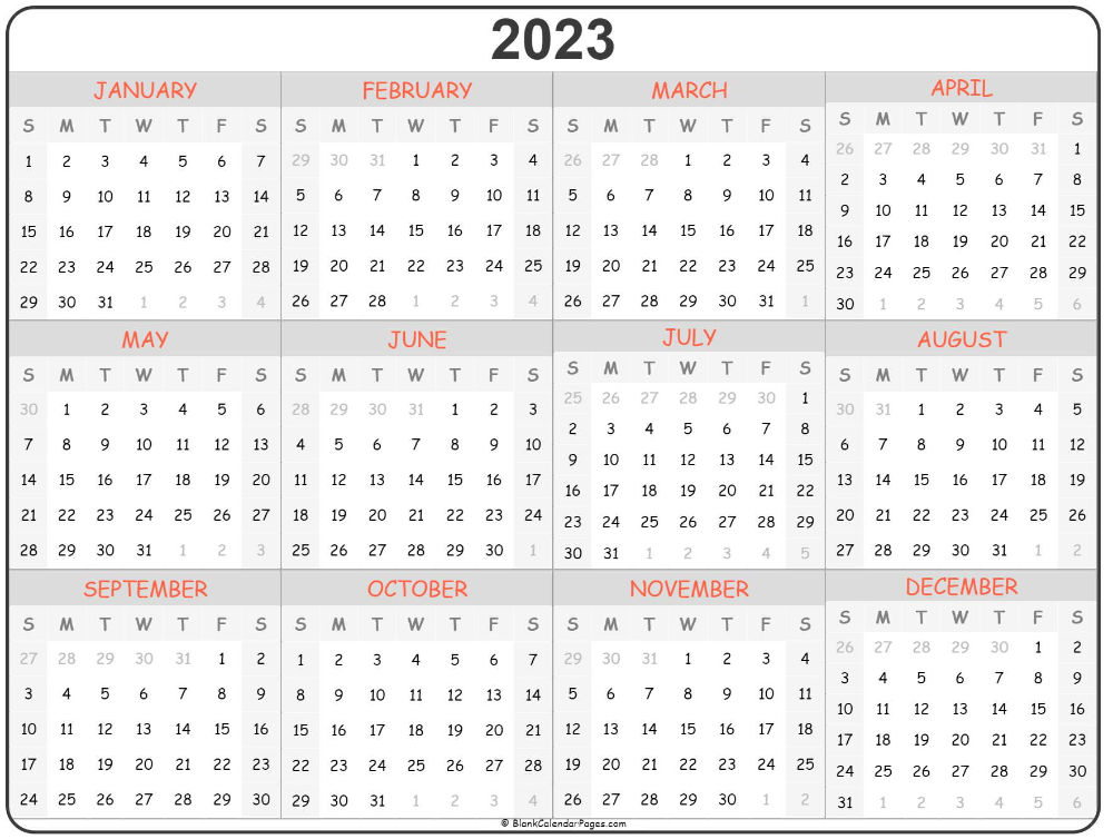 2023 Year Calendar Yearly Printable Monthly Calendar Printable Calendar Printables Calendar Template