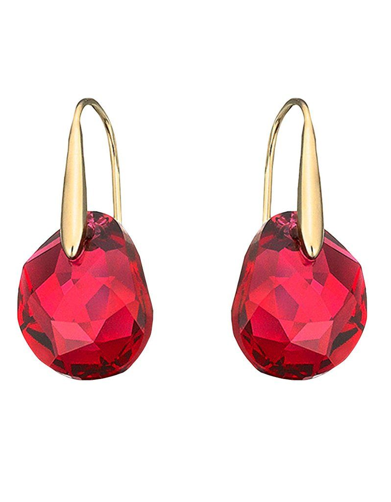 Swarovski Red Crystal Jewelry Galet Pierced Earrings Yellow Gold 5110575