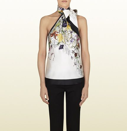 Gucci flora infinity print silk top with bow