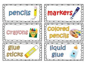 Free Classroom Supply Labels for Primary Teachers with Picture clues