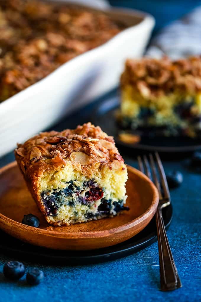 This light and fluffy Blueberry Lemon Almond Coffee Cake