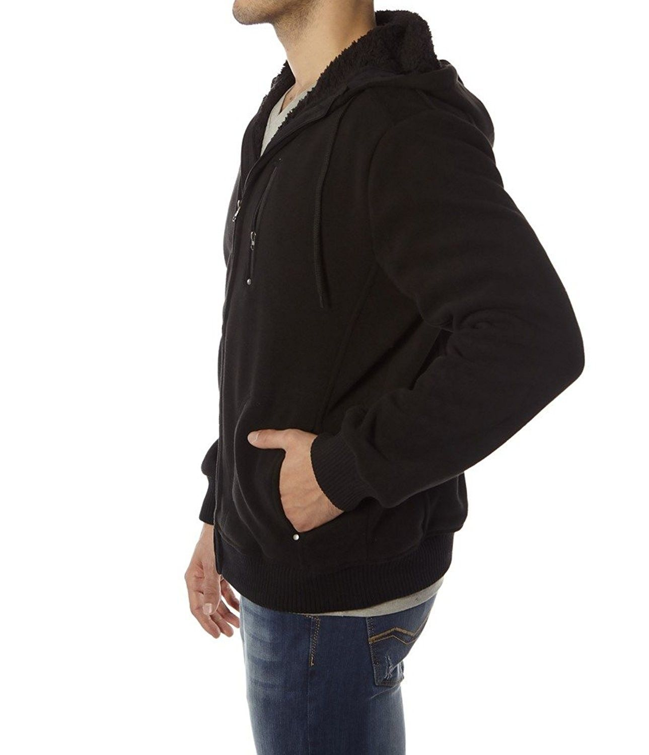 Mens//Women Fur Lined Sherpa Hoodie Hooded Top// Winter Warmer M XXL