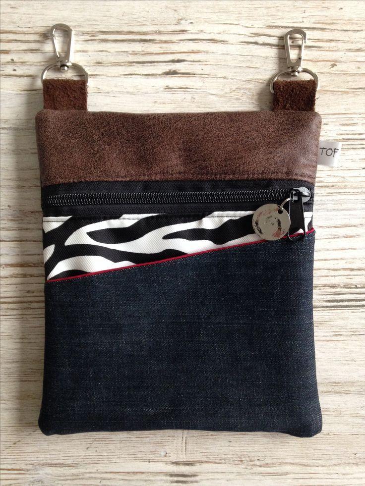 (P78) Belt bag in denim combination from www.tofstofcombin #crochetapplicates