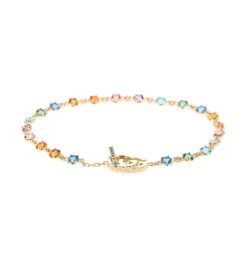 Gucci running kt gold and rhinestone bracelet accessories