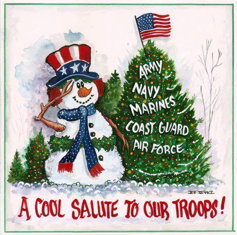 a cool salute to our troops patriotic christmas card