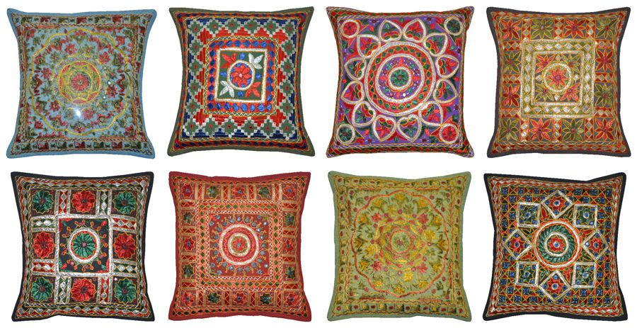 Indian Cotton Embroidered Mirror Cushion Cover Decor