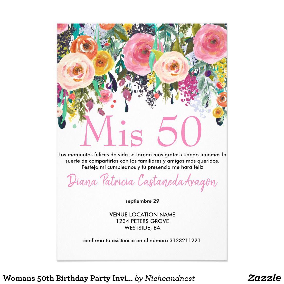 Invitación La 50 A Fiesta Del Cumpleaños De La Mujer Invita