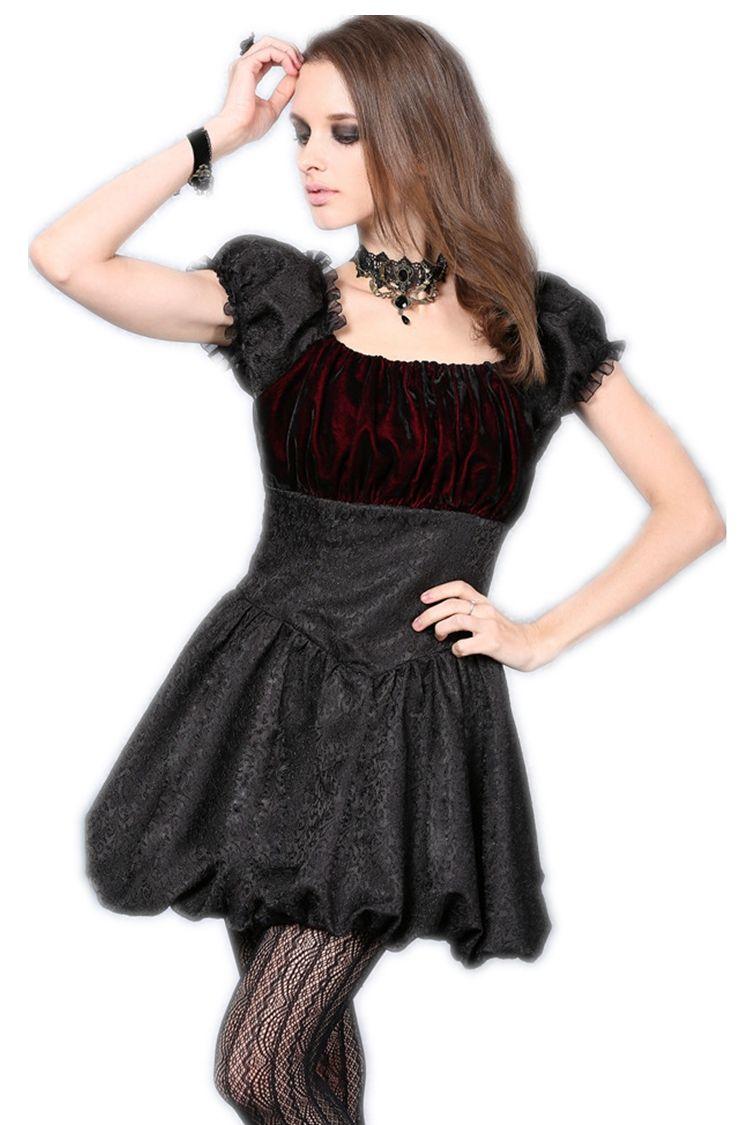 Robe courte noire satinée velours rouge gothique vampire sexy
