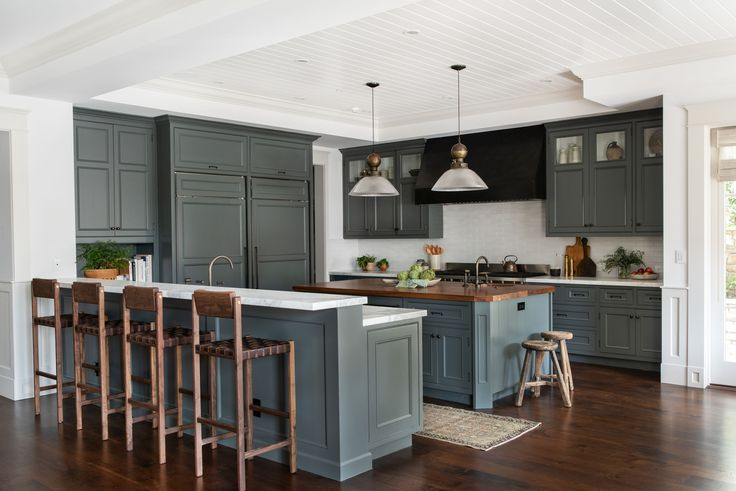 Gray Green kitchen cabinets   Amber interiors, Kitchen ...