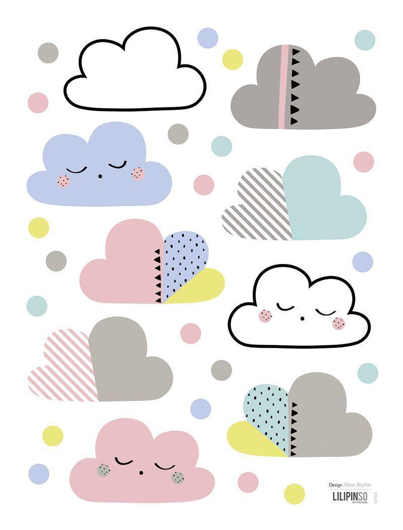 Kinderzimmer Wandsticker \'Wolken & Punkte\' pastell   Wandsticker ...