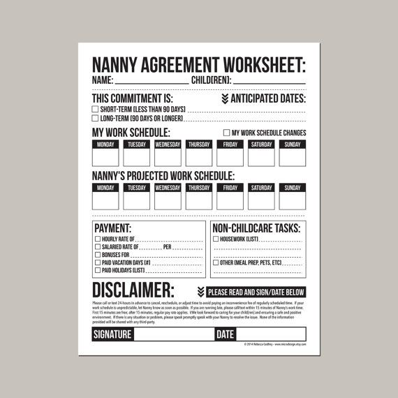 Nanny Contract Template Sample Employment Nanny Contract Example