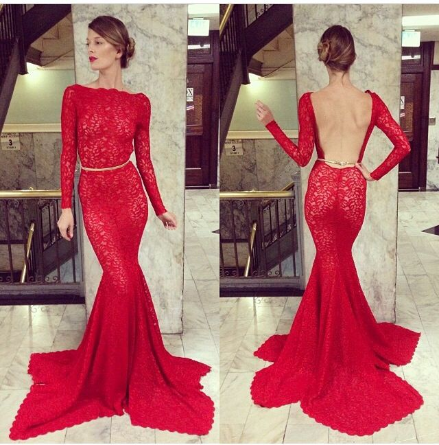 Beautiful Long Sleeve Open Back Red Lace Mermaid Tail Dress