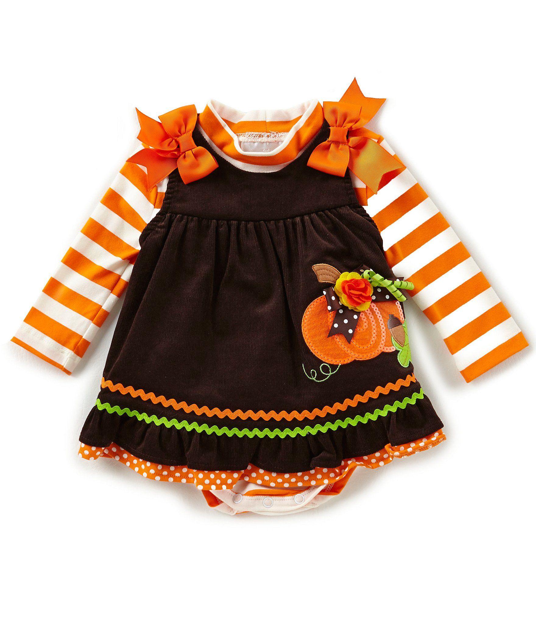 fb881461039 Rare Editions Baby Girls 324 Months Thanksgiving Pumpkin Jumper Dress and Striped  Bodysuit Set  Dillards
