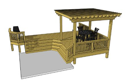 This 2 Level L Shaped Deck Composition Features An Overhead Pergola And A Unique Cascading Staircase The Top Deck Is 2 In 2020 Deck Plans Diy Diy Deck Free Deck Plans