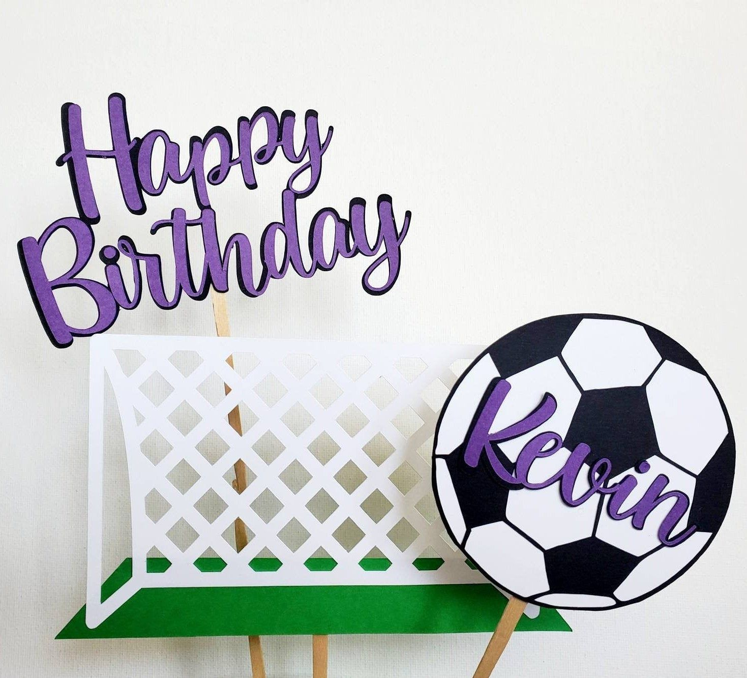 Soccer Cake Topper Custom Name Birthday Soccer Decoration Etsy In 2020 Sports Party Decorations Soccer Party Decorations Sports Cake Topper