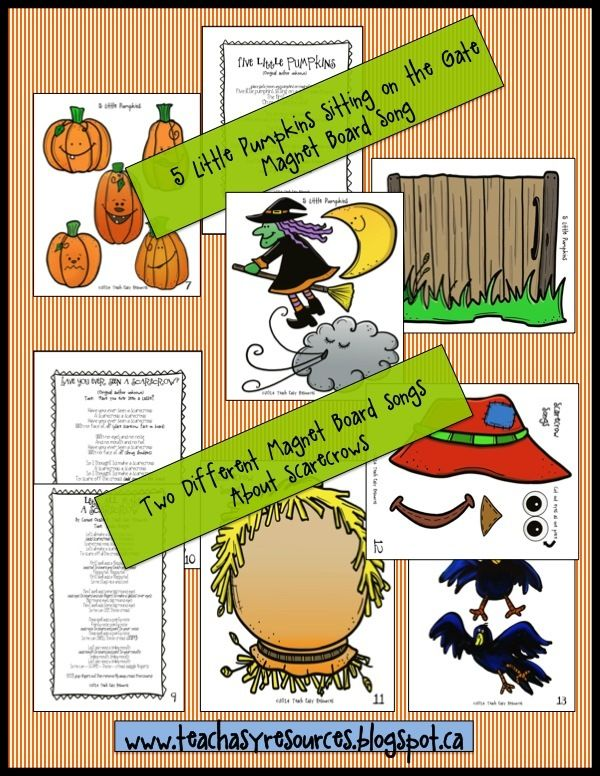 Three of the magnet board songs featured in a pack of 10 Fall Songs from Teach Easy Resources. Fun!