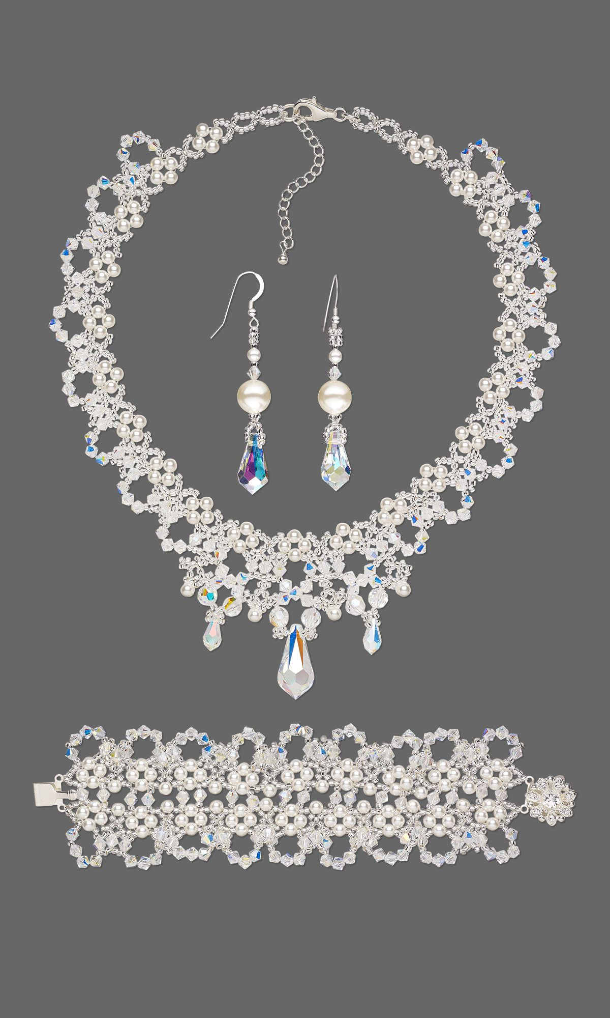 "Fire Mountain Gems and Beads' 2014 Swarovski Bronze Medal Prize Winner (Wedding and Holiday) - design F12Z ""Down the Aisle"" by Florewela Dela Cruz Cornelis #diyjewelrymaking #beadingcontest #jewelrymakingcontest"