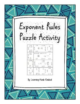 Exponent Rule Puzzle Activity Exponent Rules Exponents Zero Exponent Rule