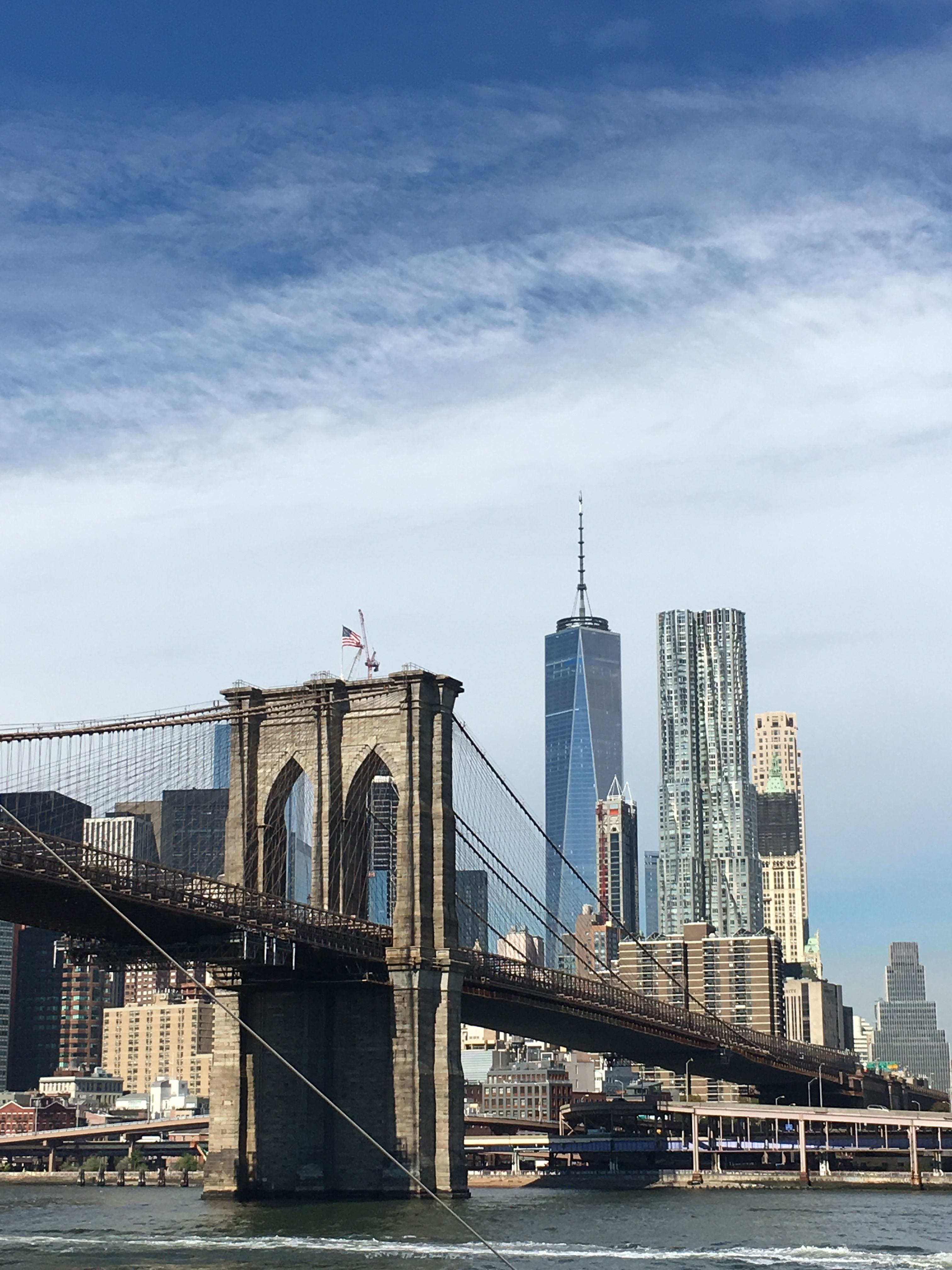 New york: the brooklyn bridge and the one world trade center