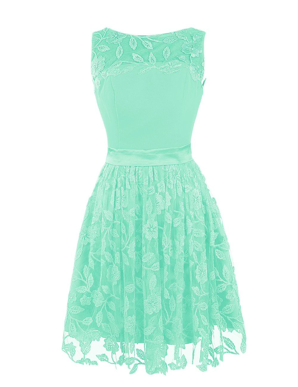 Dressystar short bateau chiffon bridesmaid dress with embroid aline