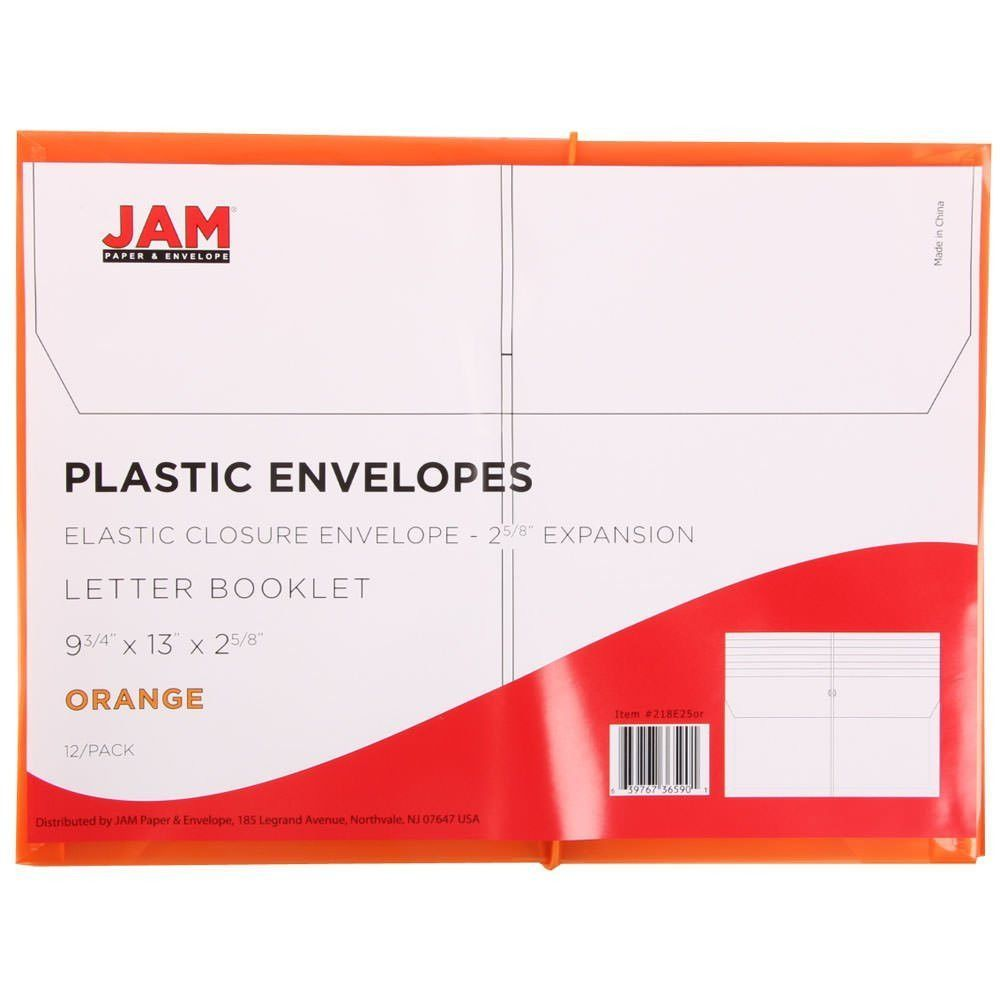 Jam Paper Plastic Elastic Closure Expansion Envelope Orange