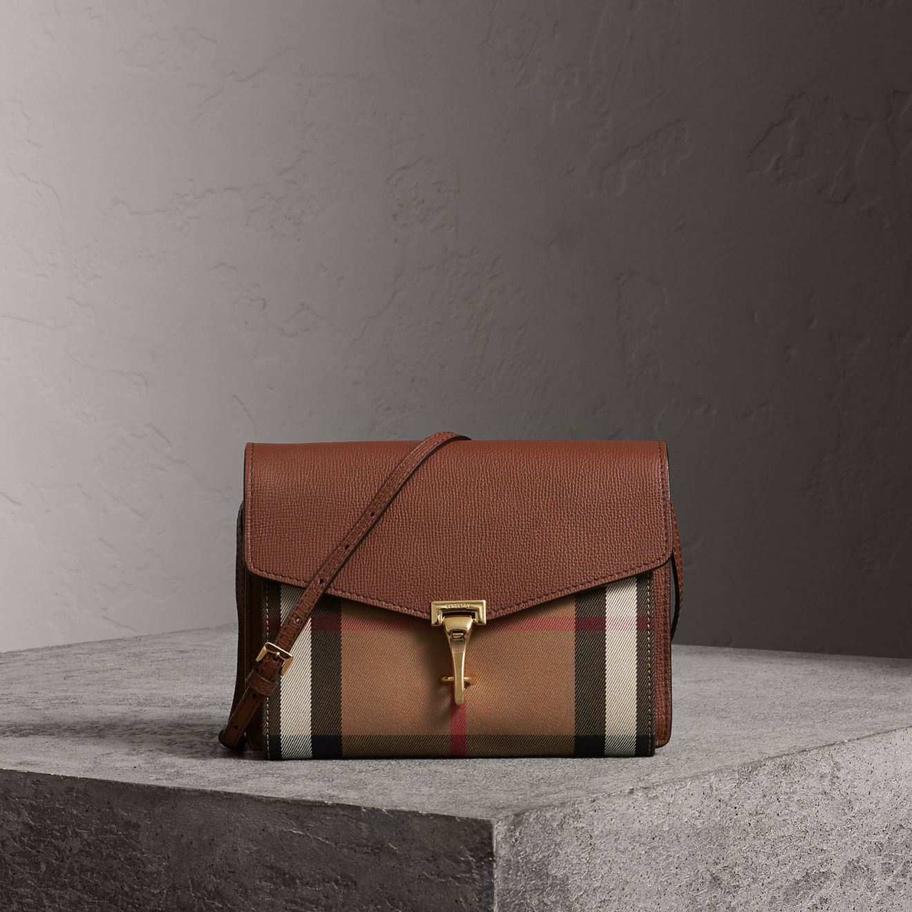 d2e7e1cdc54 Small Leather and House Check Crossbody Bag in Tan - Women   Burberry  United States