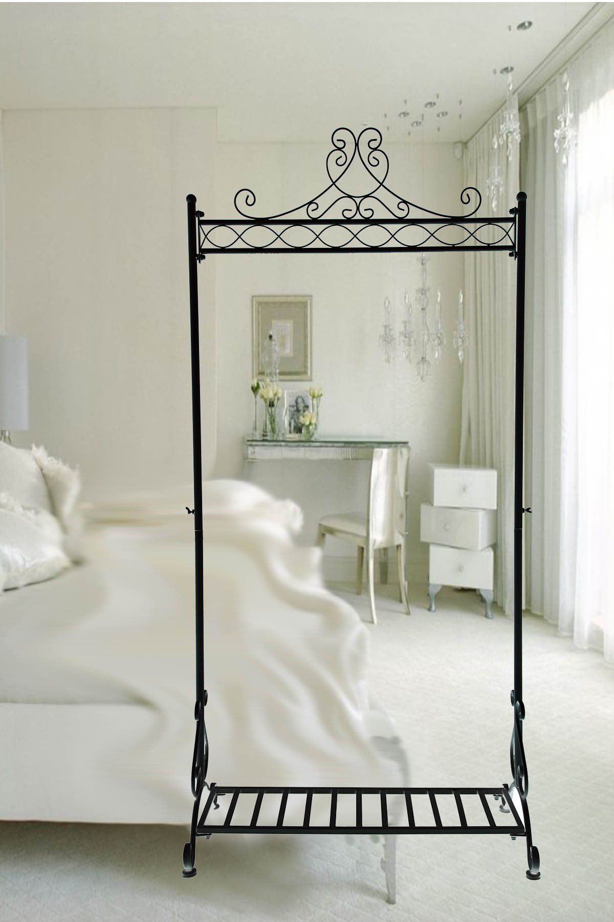 Vintage Design Black Clothes Hanging Rails, Metal, Free Standing ...