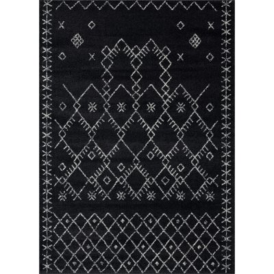 Gracie Oaks Cascio Black Gray Area Rug Area Rugs Black Grey Rugs