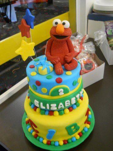 Elizabeths 2nd birthday Elmo girls or kids birthday cake mimis