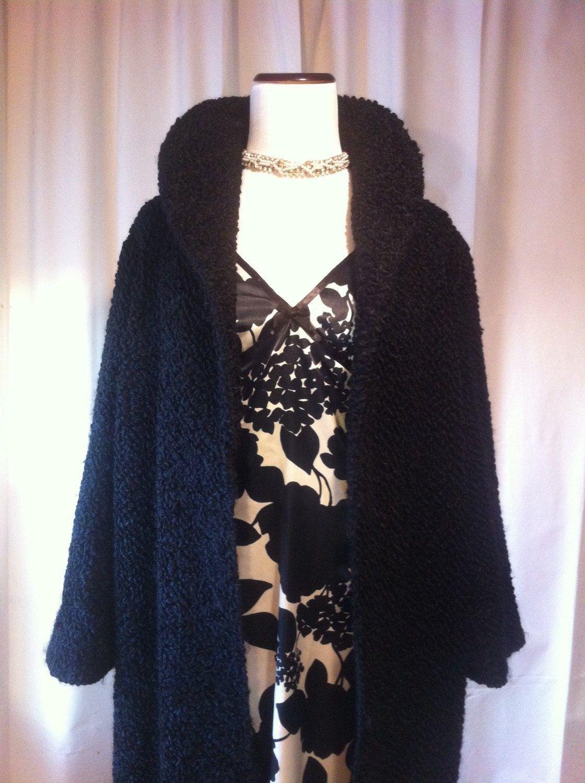 Vintage Black Persian Curly Lamb Fur Mid Calf Length Coat, Medium Large - http://goo.gl/oOJlEW