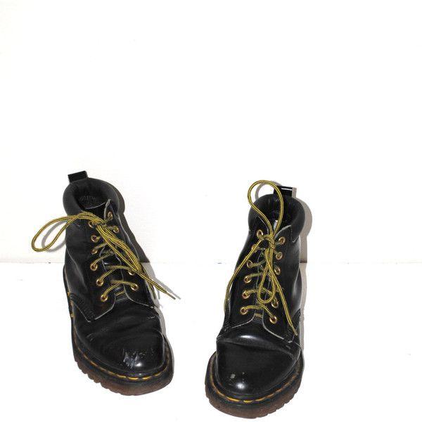Vintage Doc Martens 90s Grunge Black Leather Yellow Laces Lace Up Dr
