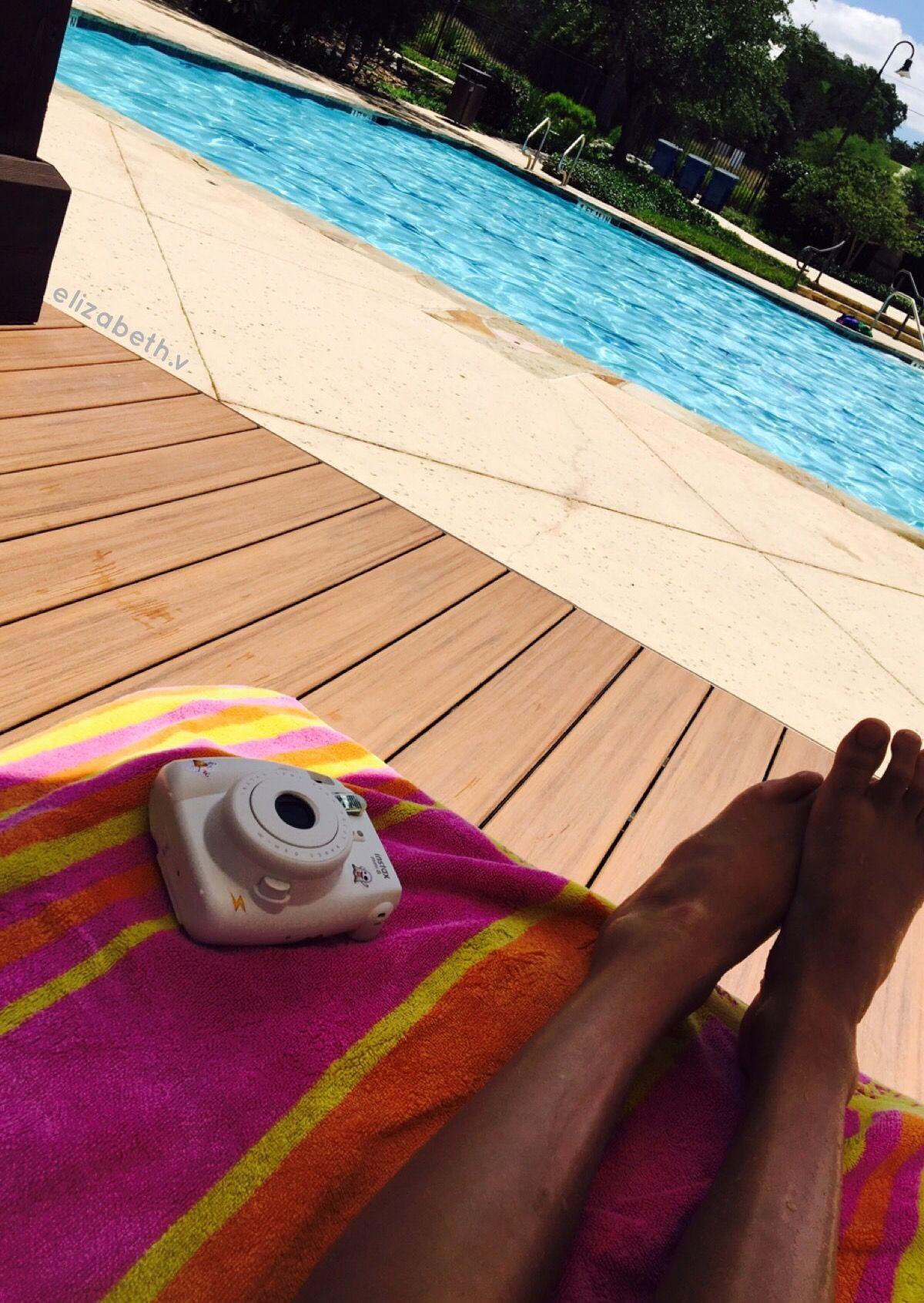 Pool chill beach Polaroid towel summer Photo by Elizabeth