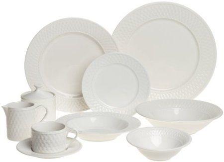 Amazon.com: Oneida Basketweave 53 Piece Dinnerware Set, Service For 8: