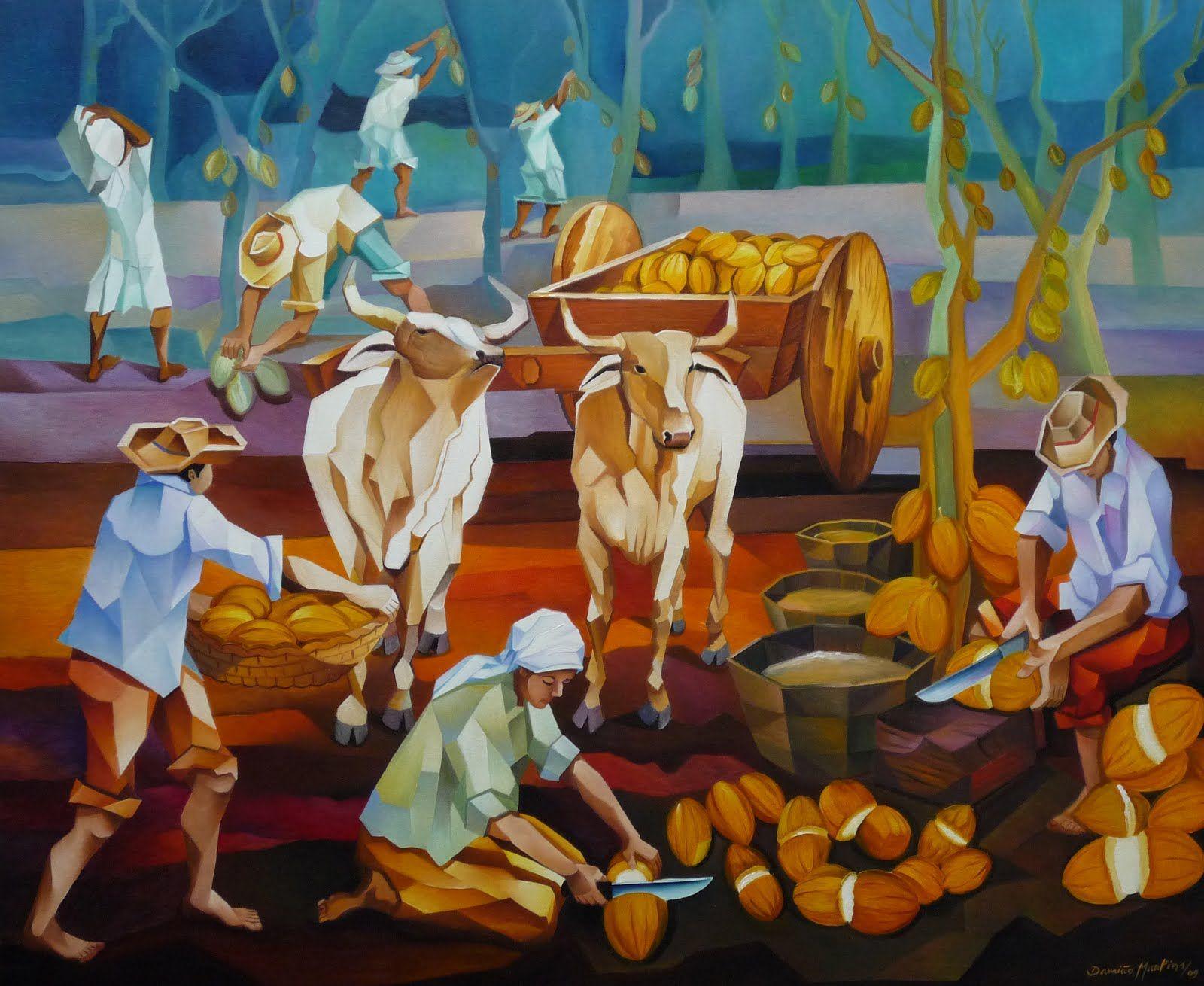 Colheita de cacau by Damiao Martins (90 X 110 cm)