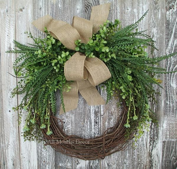Everyday Greenery Grapevine Wreath with Fern and Turquoise Floral; Summer, Fall, Year Round,