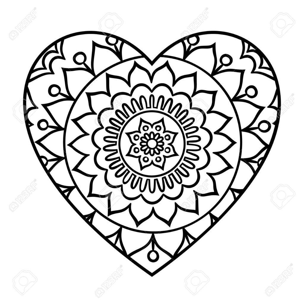 Mandala Corazon Para Colorear Simple Mandala Mandala Coloring