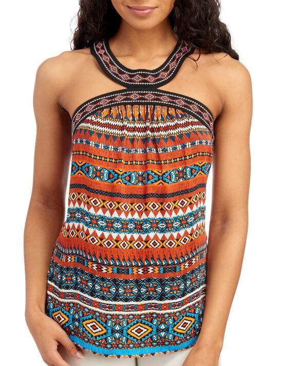 Laundry by Shelli Segal T-Back Aztec Print Halter Top | XL |  polyester #aztec