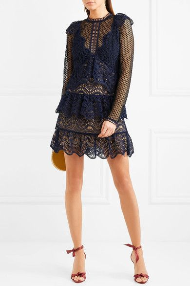 Cheap Low Shipping Fee Tiered Guipure Lace Mini Dress - Navy Self Portrait Outlet Sale Online Discount Genuine Latest Collections Online sMrrkF