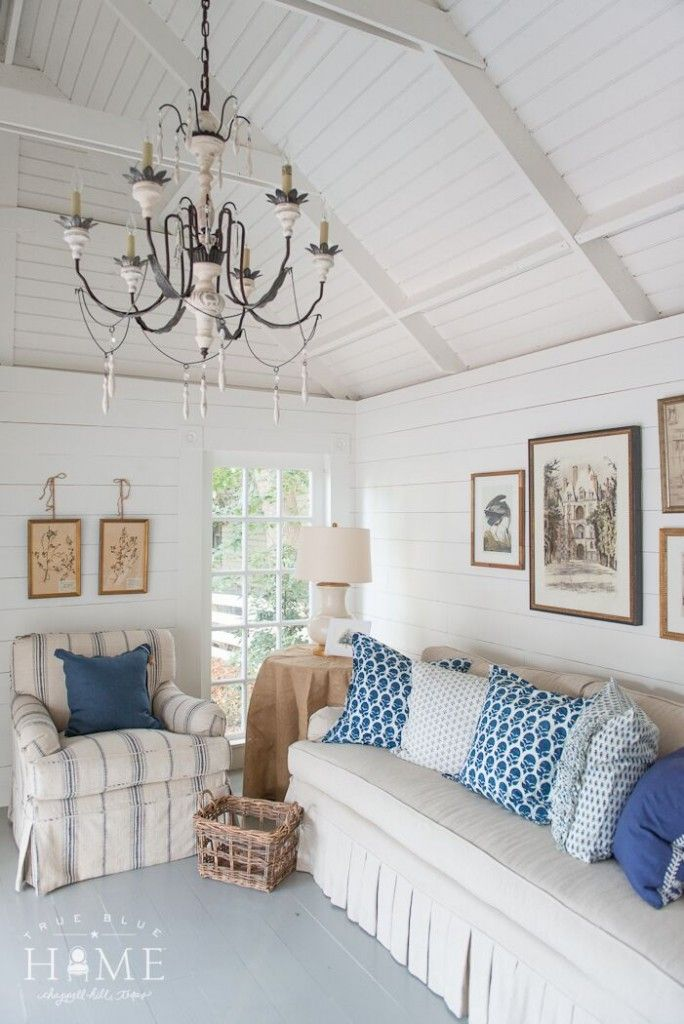 Blue And White Cottage Living Room Via True Blue Cottage