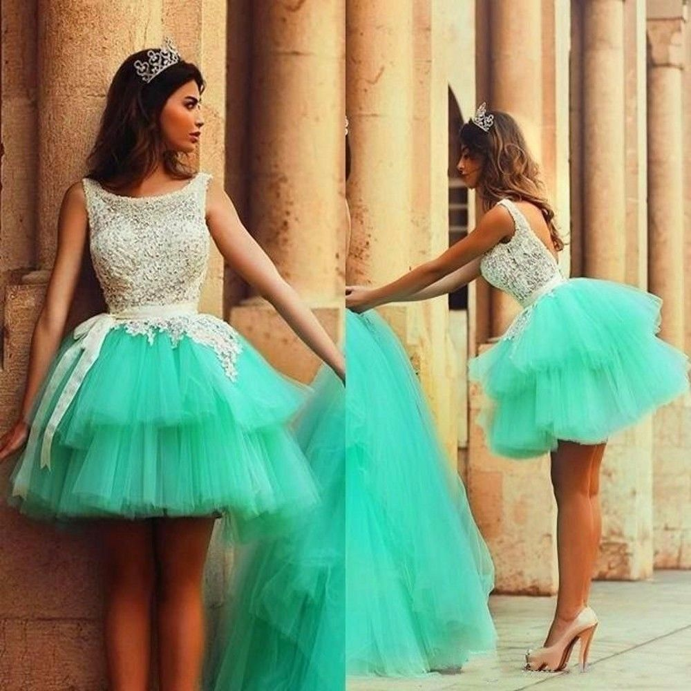 Ulass 2016 Cute Short Puffy Prom Dresses Tulle Tiered Prom Party ...