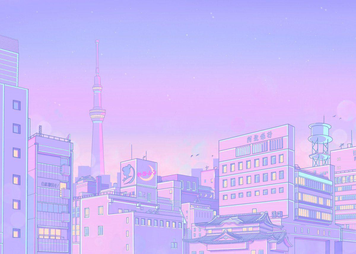 Sailor City Poster By Elora Pautrat Displate Aesthetic Desktop Wallpaper Desktop Wallpaper Art Kawaii Wallpaper Anime city background wallpaper hd