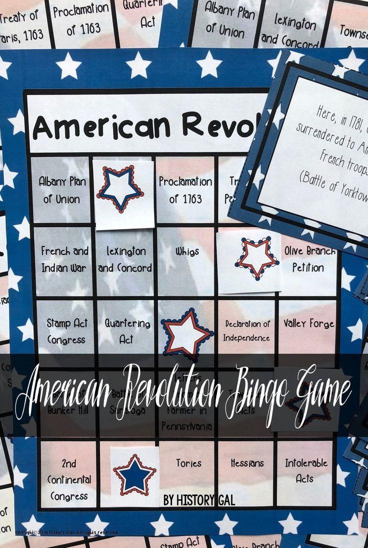 American Revolution Bingo Teaching us history, American