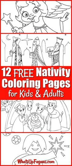 12 FREE Printable Nativity Coloring Pages for Kids Christmas - new simple nativity scene coloring pages