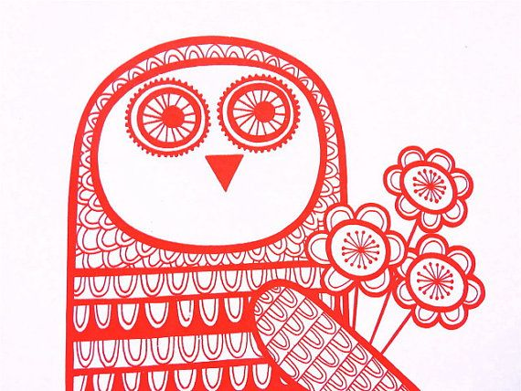 Red Retro Owl with love screen print by Jane Foster by Janefoster