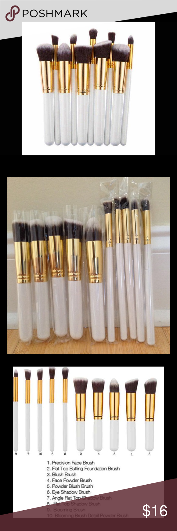 10pcs Makeup Brushes Set 10pcs makeup Brush Set Cosmetic Liquid Foundation Blending Blush   About the product: -Brush Material : Synthetic Hair, Mink Hair -Large size: 15.5x2x2cm -Small size: 18.5x0.8x0.8cm -Product size (LxWxH): 15.5x 2x 2cm/6.09x 0.79x0.79 inches -Package size(LxWxH): 20x 5x 5cm/ 7.86x1.97x 1.97 inches -Package Contents: 5x Large Brushes and 5x Small Brushes Makeup Brushes & Tools