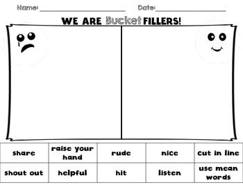 Charmant Bucket Filler Sort And Coloring Page