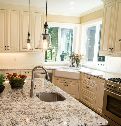 Custom Modern Farmhouse Style Kitchen With Off White Cabinets Granite Counter Tops Farm House Custom Kitchens Farmhouse Style Kitchen Custom Kitchens Design